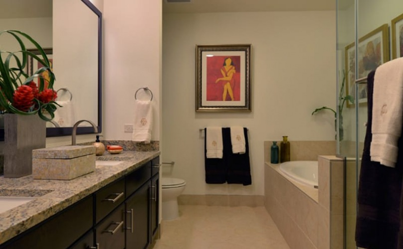spacious bathroom with a large mirror and easy access to tub