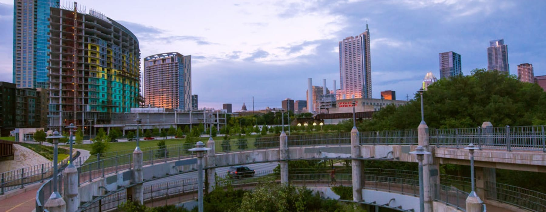 wide view of downtown Austin's skyline at sunset